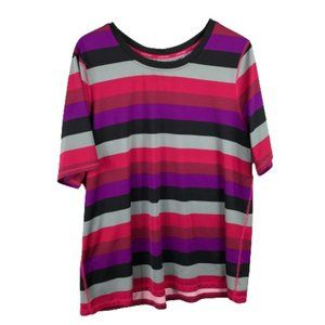 Lands End Womens Athletic Striped T-Shirt 1X